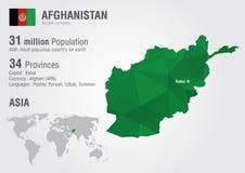 Carte du monde de l'Afghanistan avec une texture de diamant de pixel Photos libres de droits