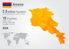 Carte du monde de l'Arménie avec une texture de diamant de pixel Image libre de droits