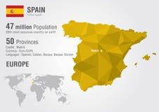 Carte du monde de l'Espagne avec une texture de diamant de pixel Photos libres de droits