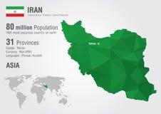 Carte du monde de l'Iran avec une texture de diamant de pixel Image libre de droits