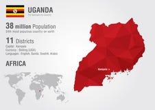 Carte du monde de l'Ouganda avec une texture de diamant de pixel Photos libres de droits