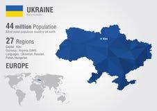 Carte du monde de l'Ukraine avec une texture de diamant de pixel Image stock