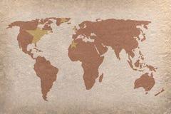 Carte du monde de la Chine Photos libres de droits