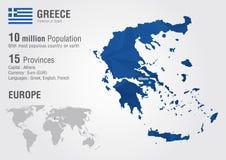 Carte du monde de la Grèce avec une texture de diamant de pixel Photographie stock libre de droits