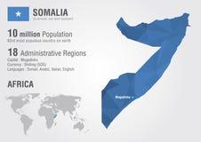 Carte du monde de la Somalie avec une texture de diamant de pixel Photographie stock libre de droits