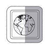 carte du monde de la terre de bouton de place de silhouette d'autocollant avec des continents dans 3d Photo libre de droits