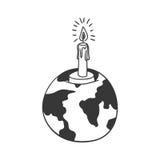 Carte du monde de la terre de silhouette avec la bougie Photographie stock