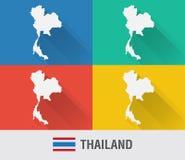 Carte du monde de la Thaïlande dans le style plat avec 4 couleurs Image stock