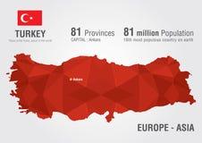 Carte du monde de la Turquie avec une texture de diamant de pixel Photographie stock libre de droits