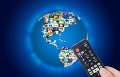 Carte du monde de multimédia d'émission de télévision photo libre de droits