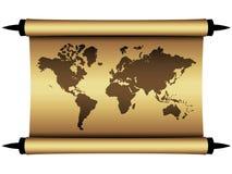 Carte du monde de parchemin Photographie stock libre de droits