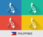 Carte du monde de Philippines dans le style plat avec 4 couleurs Photographie stock libre de droits