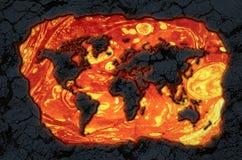 Carte du monde de pierre de lave Image stock