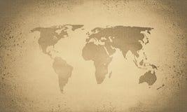 Carte du monde de sépia de cru photo libre de droits