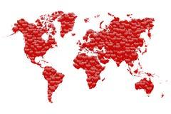 Carte du monde de Saint-Valentin Image stock