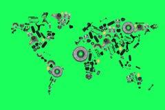 Carte du monde de sort de pièces de rechange de voiture d'isolement sur le fond vert Photographie stock libre de droits