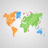 Carte du monde de vecteur Photographie stock