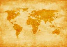 Carte du monde de vieux type illustration de vecteur