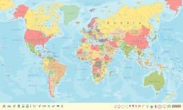 Carte du monde de vintage et marqueurs - illustration de vecteur Illustration de Vecteur