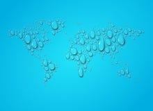 Carte du monde des baisses transparentes de l'eau illustration stock