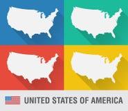 Carte du monde des Etats-Unis dans le style plat avec 4 couleurs Photographie stock libre de droits