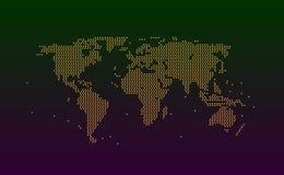 Carte du monde des particules de tache ou de couleur orange de cercles La texture de fond rapièce ou éclabousse du grunge d'imita illustration stock