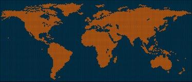 Carte du monde des tuiles d'hexagone Images libres de droits