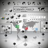 Carte du monde, differenticons et information Photos stock