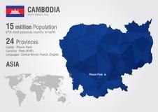 Carte du monde du Cambodge avec une texture de diamant de pixel Images stock