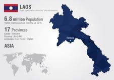 Carte du monde du Laos avec une texture de diamant de pixel Photographie stock