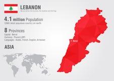 Carte du monde du Liban avec une texture de diamant de pixel Image stock