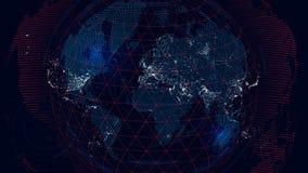 Carte du monde du réseau de télécommunications mondiales, fond futuriste illustration libre de droits