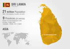 Carte du monde du Sri Lanka avec une texture de diamant de pixel Photo stock