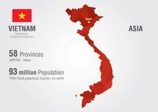 Carte du monde du Vietnam avec une texture de diamant de pixel Photos libres de droits