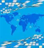 Carte du monde entourant les plats volumétriques Image stock