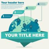 Carte du monde et 4 étapes Photographie stock
