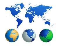 Carte du monde et globes (vecteur) Images libres de droits