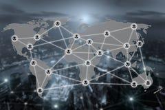 Carte du monde et icône sociale de communication de réseau de connexion Image stock