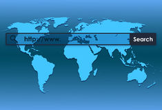 Carte du monde et World Wide Web Images stock