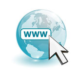 Carte du monde et World Wide Web Images libres de droits