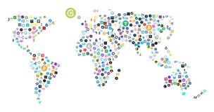 Carte du monde faite de cryptos icônes de devise illustration libre de droits
