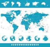 Carte du monde, globes, continents, icônes de navigation - illustration Images stock