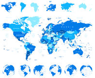 Carte du monde, globes, continents - illustration Images stock