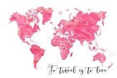 Carte du monde remplie d'effet pour aquarelle rose Image stock