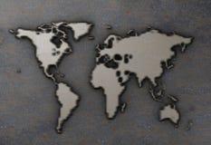 Carte du monde sur de plaque métallique rouillé illustration stock