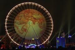 Carte du monde sur la grande roue sur l'endroit Bellecour Images stock