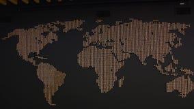 Carte du monde sur le mur noir banque de vidéos