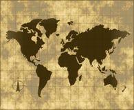 Carte du monde sur le parchemin Photographie stock libre de droits