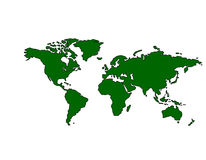 Carte du monde (vert) Images stock