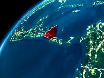 Carte du Nicaragua la nuit Photos stock
